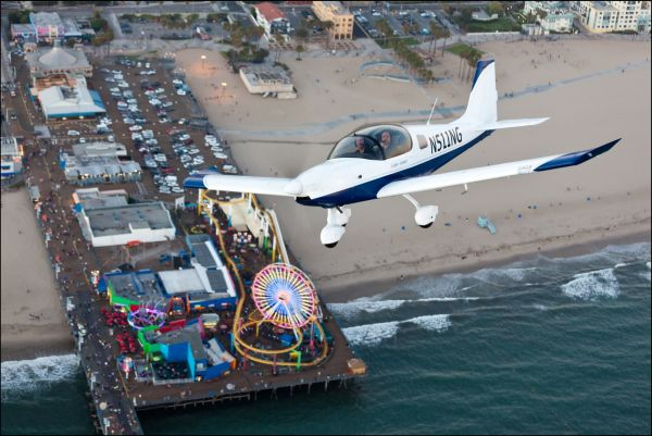 The Sling is pictured flying over Santa Monica Pier in California. The plane has become so popular in the United States that The Airplane Factory has opened up a branch just outside of Los Angeles. (Image: Aaron Gautschi)